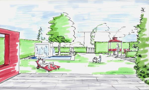 Grundriss Zeichnen Unterricht : Gartenperspektive, Haus mit Terrasse und Teich